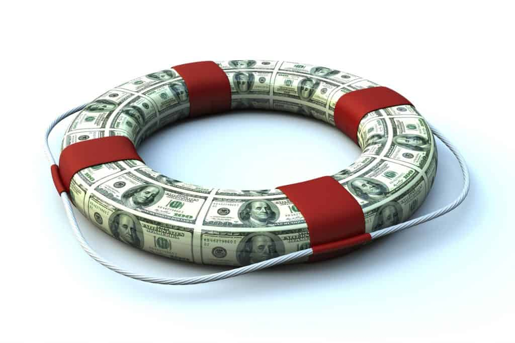 money rolled up in the shape of a life preserver
