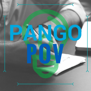 pango pov square banner with fadded image of hands writing on paper