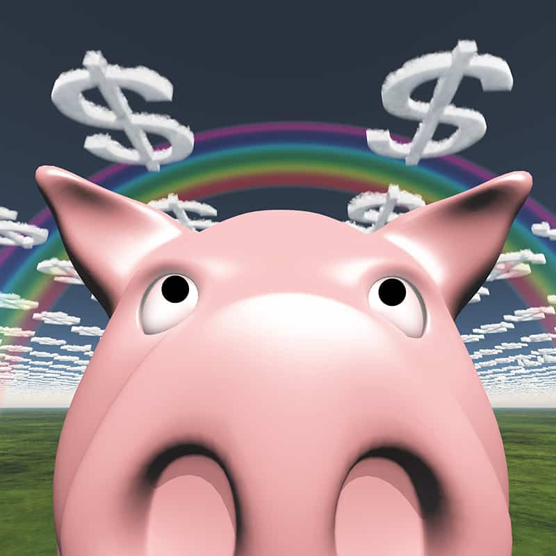 close up of a cartoon pig's face with a rainbow and dollar sign clouds
