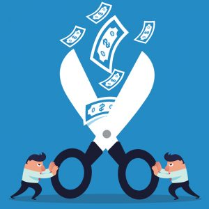 cartoon giant scissors with two men on each side trying to cut money
