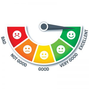 red to green meter with cartoon faces from smiling to frowing on them