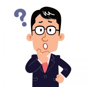 cartoon man thinking with his hand on his chin, mouth open, and a question mark above him