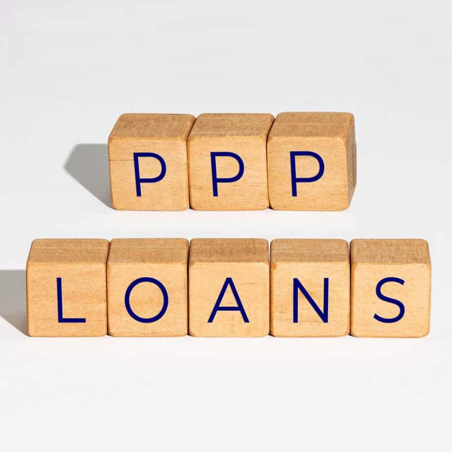 """wooden blocks spelling out """"ppp loans"""""""