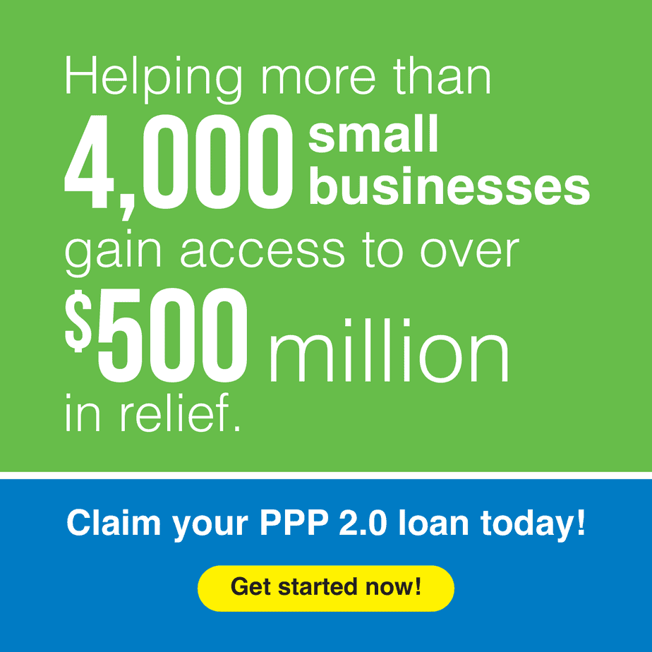 """vertical green banner with white text """"helping more than 4,000 small businesses gain access to over $500 million in relief"""""""