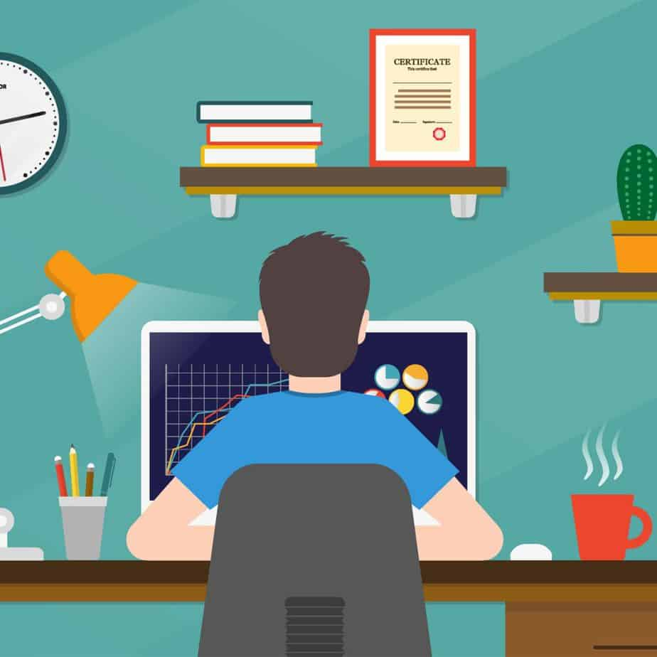 cartoon image of the back of a guy at a desk with a computer
